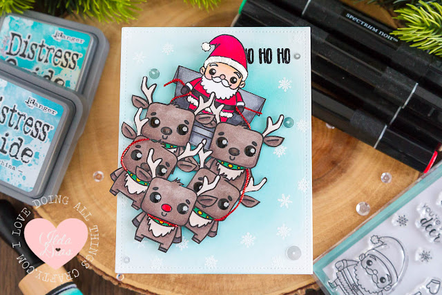 Santa Sleigh Swing Card ft. Studio Katia's Winter Friends Stamp Set
