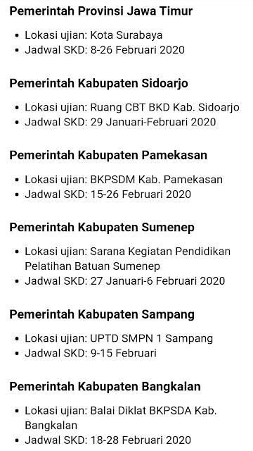 Jadwal dan lokasi Test SKD CPNS 2019 setiap Kabupaten di Jawa Timur