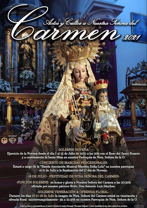 Cartel  y Programación de la Festividad de la Virgen del Carmen de Chipiona 2021