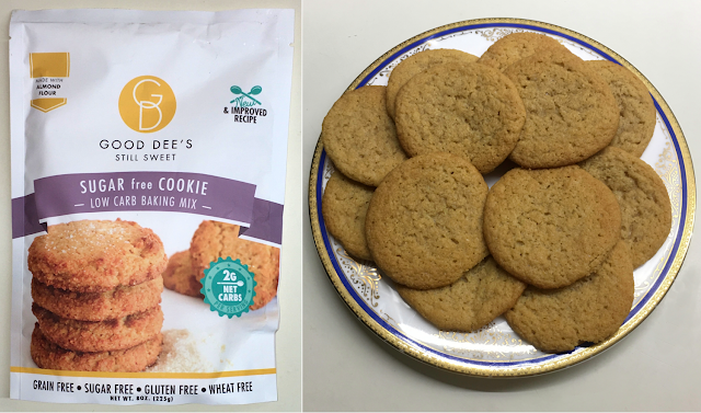Side by side photos of Good Dee's Sugar Free Cookie Baking Mix and plate of cookies