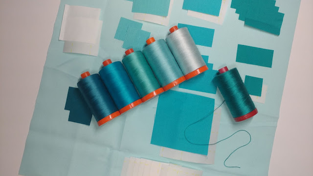 Kona solids and Aurifil thread