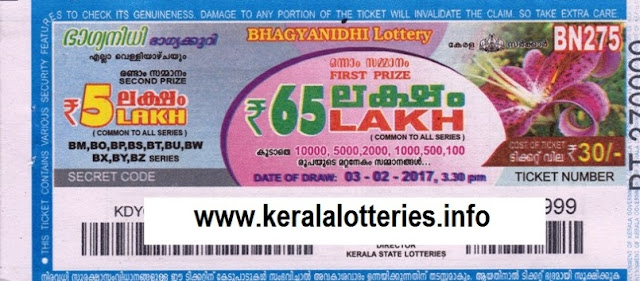 Kerala lottery result live of Bhagyanidhi (BN-171) on  16 January 2015