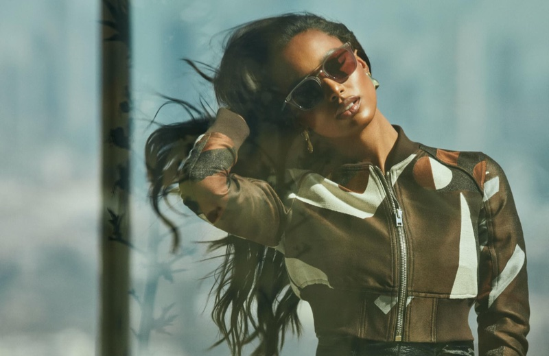 Jasmine Tookes poses for Oliver Peoples x FRÈRE campaign.