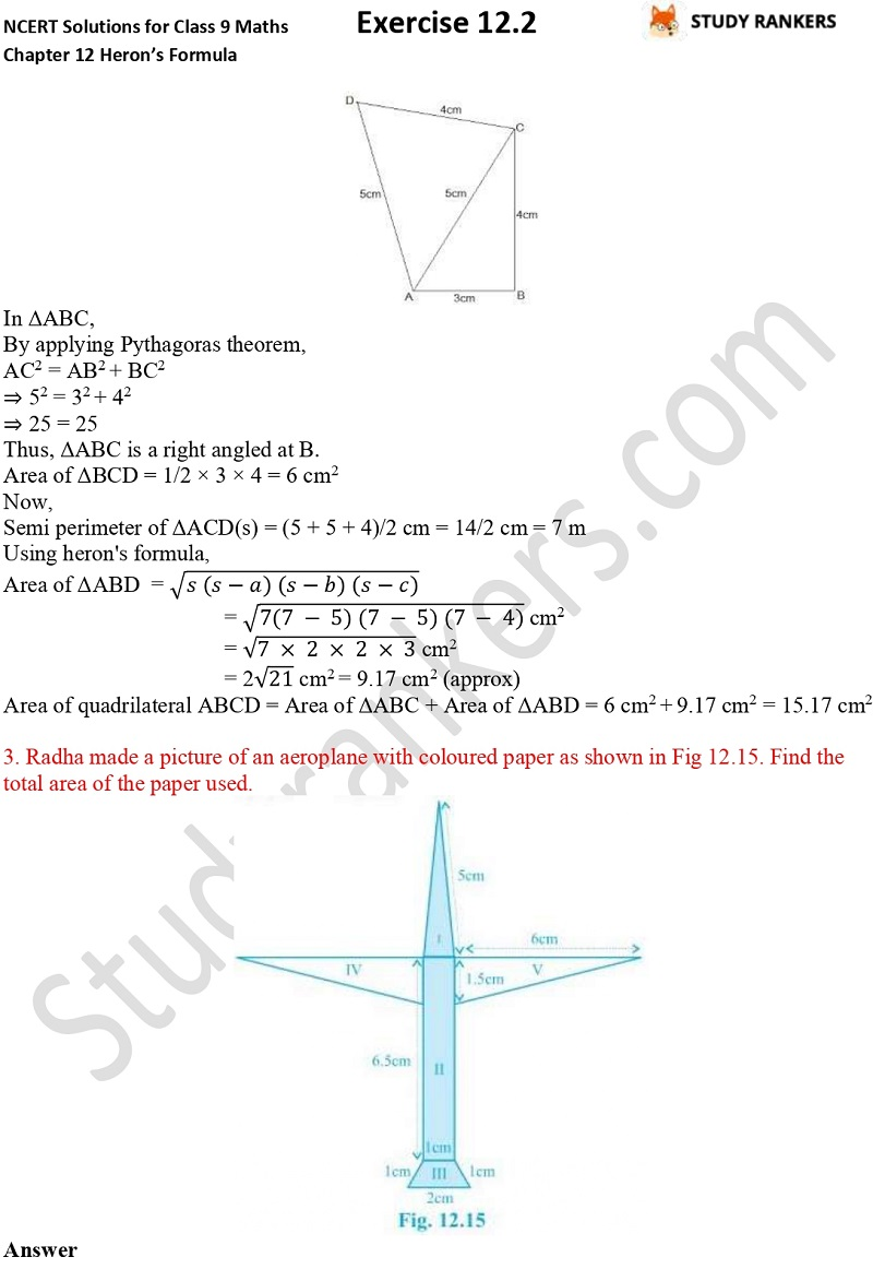 NCERT Solutions for Class 9 Maths Chapter 12 Heron's Formula Exercise 12.2 Part 2