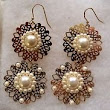 Goldtone Double Lace Disk with White Bead Earrings