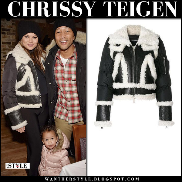 Chrissy Teigen in black shearling jacket dsquared2 and black maternity leggings winter fashion january 22
