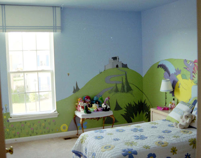 dragons painted on wall and girl flower bedding