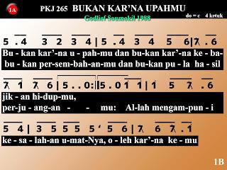 Kord Gitar Lagu PKJ 265 Bukan Kar'na UpahMu