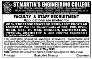 SMEC St.Martin's Engineering College, Secunderabad, Recruitment 2019 Assistant Professor/Lab Assistants jobs
