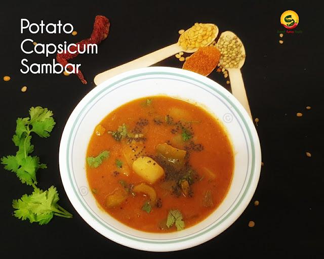 Potato capsicum sambar is very delicious .The distinct flavor of  the capsicum lends a very nice aroma to the sambar . Urulai kudamilagai sambar , kodamilagai sambar , capsicum sambar , urulai kuzhambu , kudamilagai kozhambu , urulai kodamilagai kuzhambu, kudamilagai , urulai kilangu