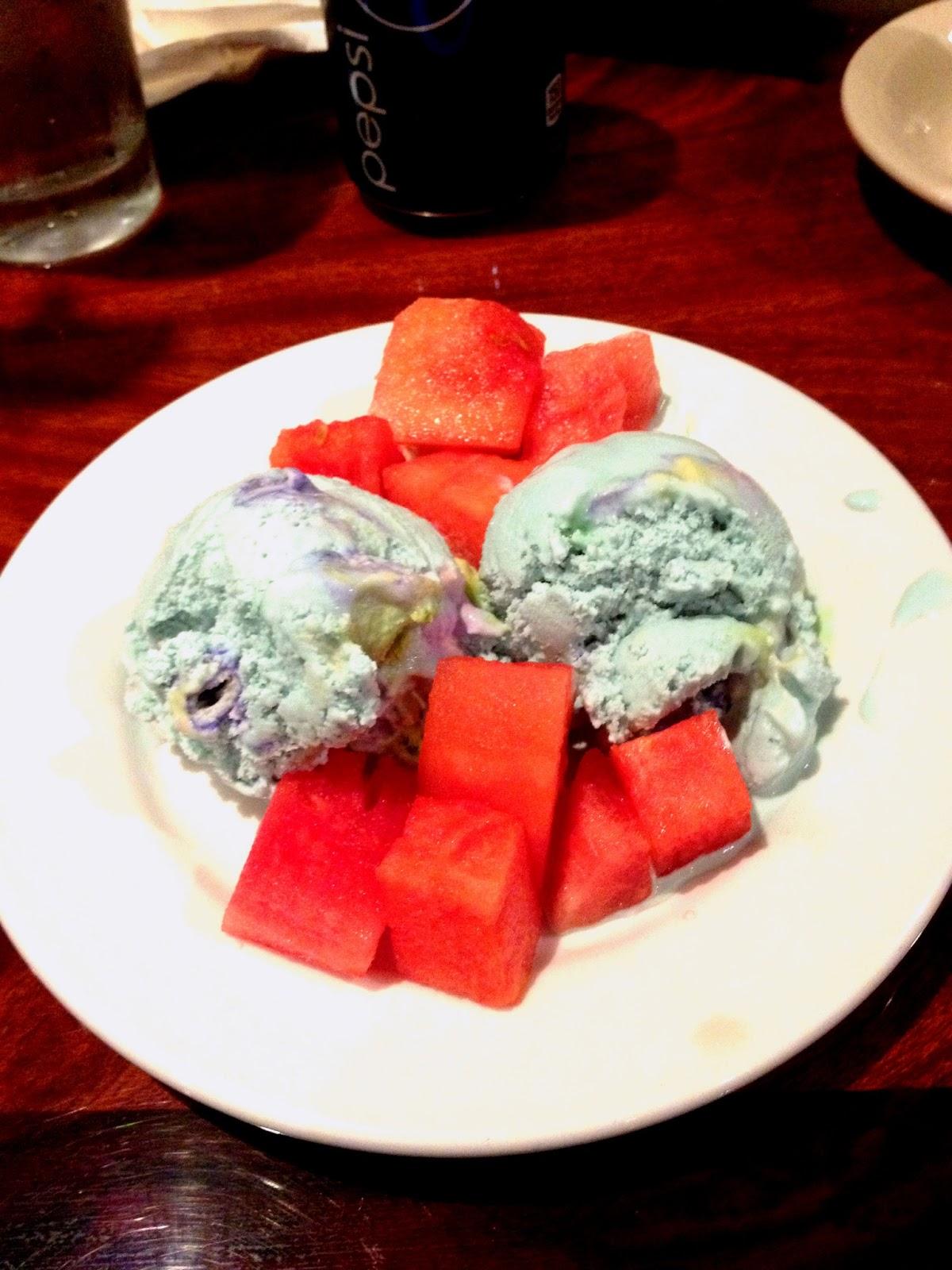 Mystery Ice Cream (Bubblegum flavor), and watermelon