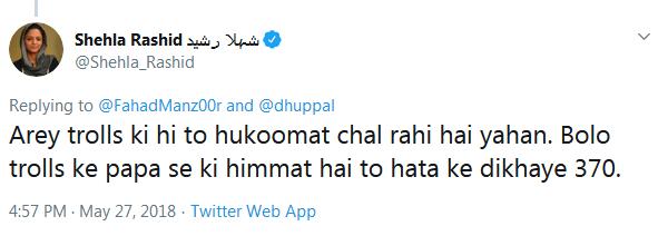 shehla rashid tweet on article 370  shehla rashid controversial tweets
