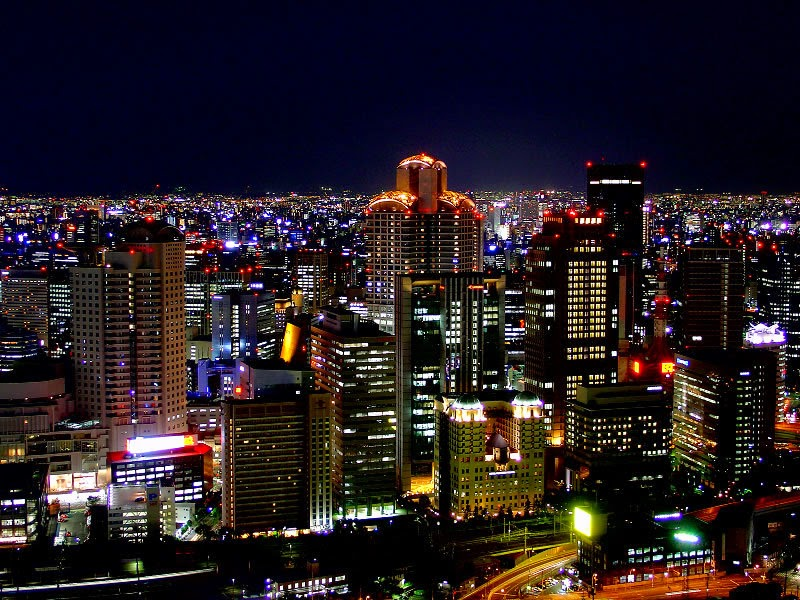 Osaka, a Largest City in Japan at Night
