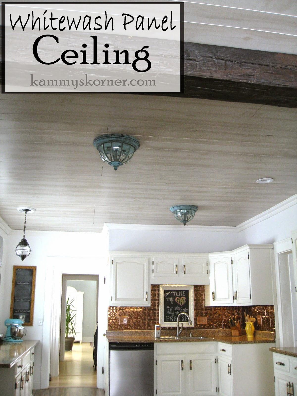 Whitewash Paneled Kitchen Ceiling
