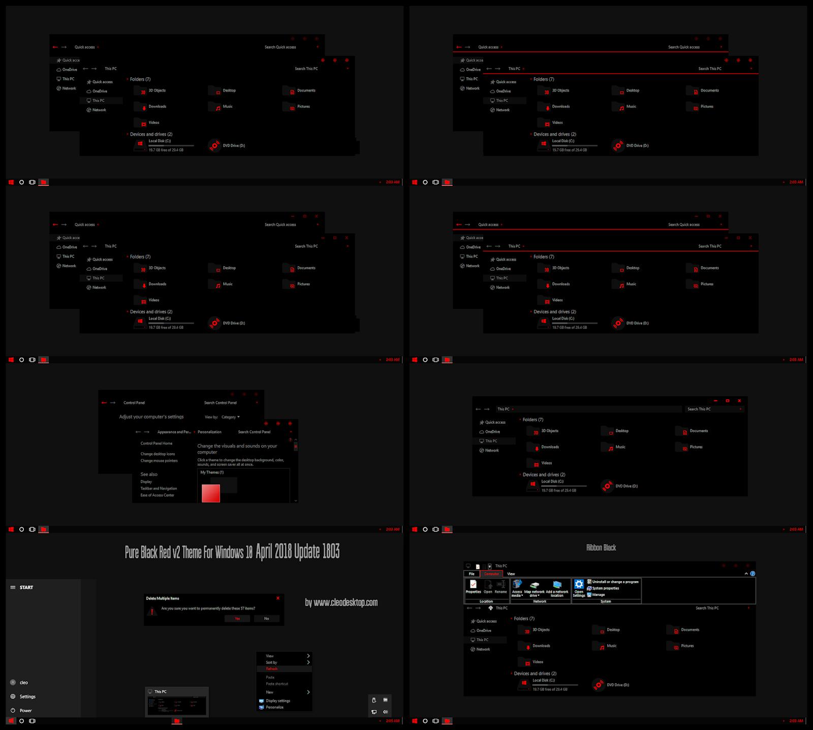Pure Black Red V2 Theme Windows10 April 2018 Update 1803 Cleodesktop I Windows 10 Themes