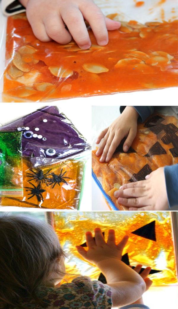 Halloween sensory bags for kids to make #halloween #halloweenactivitiesforkids #sensoryactivities #sensorybags #growingajeweledrose #activitiesforkids