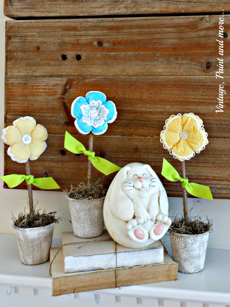 Vintage, Paint and more... DIY fabric flowers in painted peat pots for a Spring mantel done on a budget