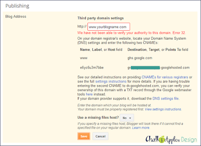 Step by step tutorial for how to point your GoDaddy domain to  your Blogger blog.   www.chalkandapplesdesign.com