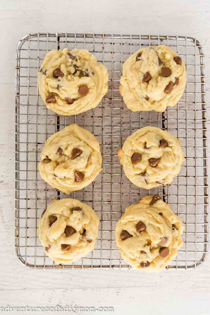 baked chocolate chip cookies on a wire rack