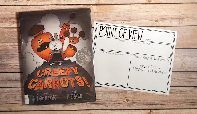 "Mentor Text with text ""Creepy Carrots!"" and Graphic Organizer with text ""Point of View"""