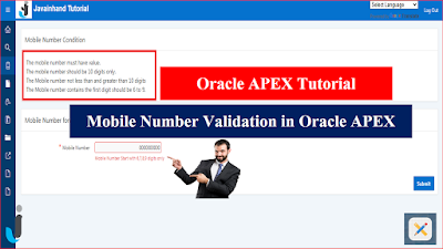 Mobile Number Format Validation in Oracle APEX