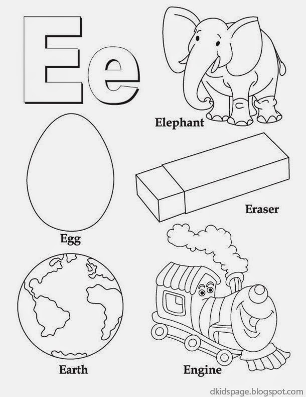 kids page letter e alphabet letters printable worksheet for kids. Black Bedroom Furniture Sets. Home Design Ideas