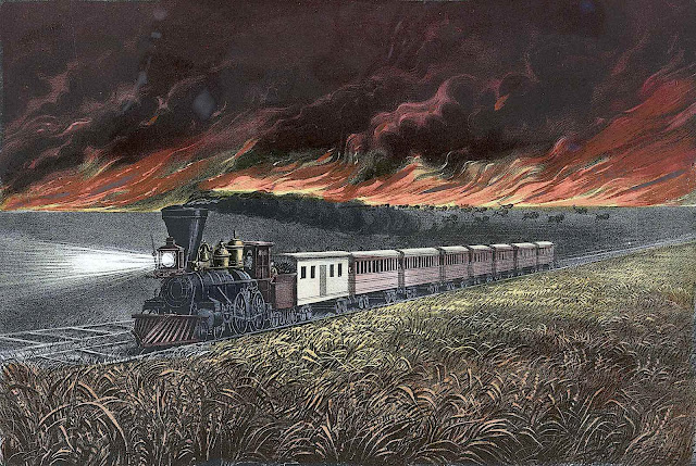 an 1872 Currier and Ives print of a locomotive passing a prairie fire