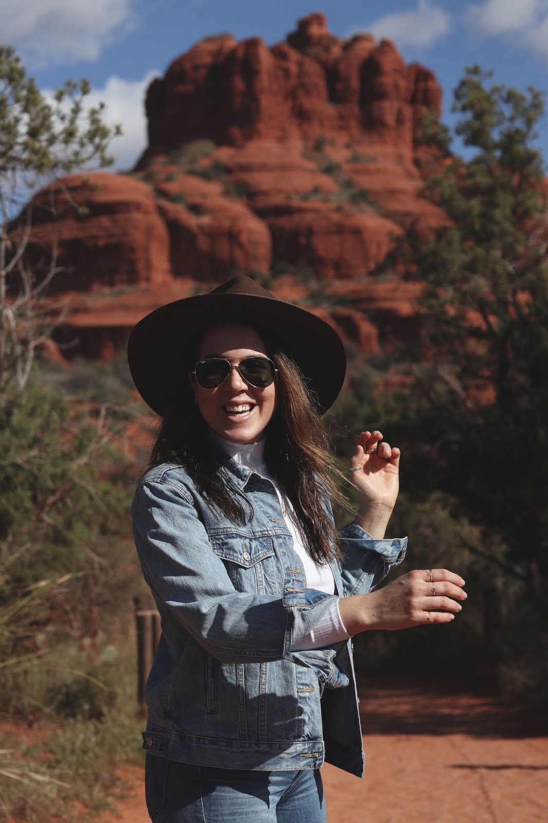 denim on denim outfit brunette the label jacket lack of color rancher hat mother jeans Sedona Arizona travel diary bell rock