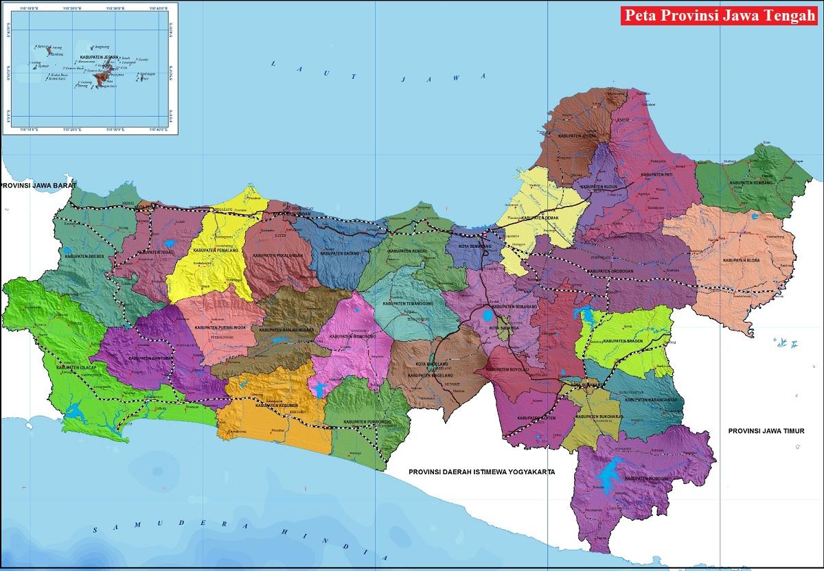 Peta Jawa Tengah Lengkap HD Ukuran Besar
