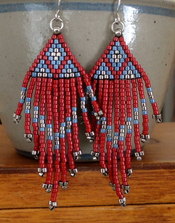Lindas Crafty Inspirations Native American Fringe Earrings Red