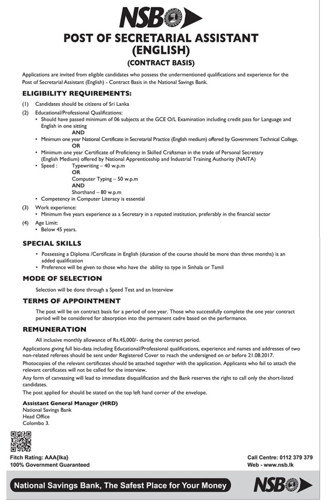 Secretarial assistant national savings banknsb ceylonbook 1betcityfo Choice Image