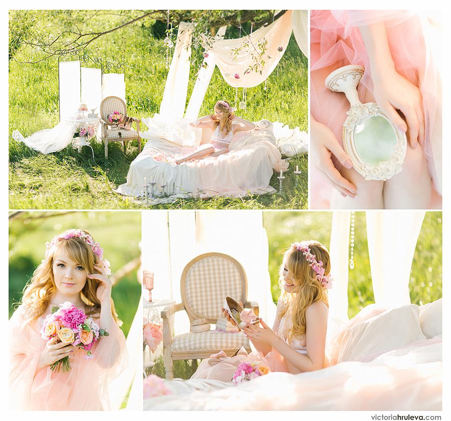 Утро невесты на природе будуарная фотосессия в нежных тонах