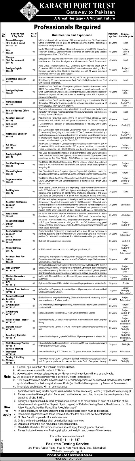 PTS Jobs in Karachi Port Trust 11 April 2019
