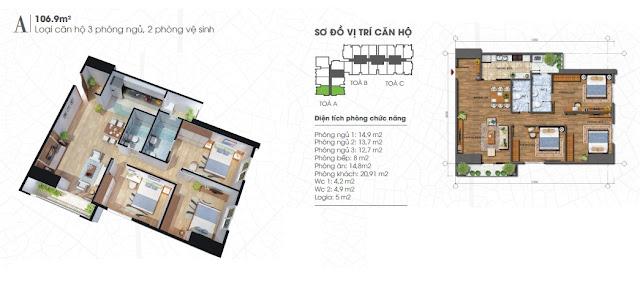 Thiết kế căn 106m - 3 phòng ngủ Ecolife Tây Hồ