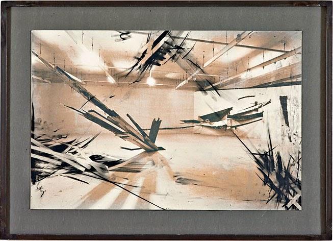 Kuno Lindenmann, Foto aus Installation Kunstforum, Städtische Galerie im Lenbachhaus München 1982, als Zeichnung überarbeitet 2012