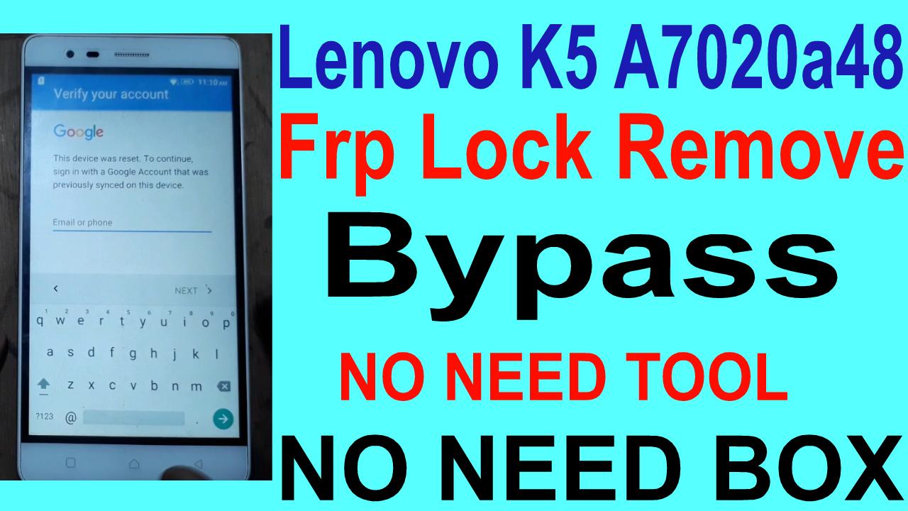 How To Lenovo K5 A7020a48 Frp Lock Remove  - Gsm-Solution Com