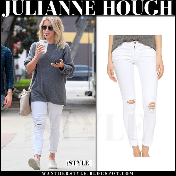 Julianne Hough in grey sweater and white skinny jeans frame denim what she wore streetstyle