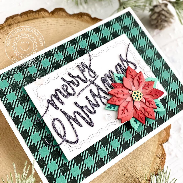 Sunny Studio Stamps: Layered Poinsettia Dies Fancy Frames Dies Christmas Garland Frame Dies Christmas Card by Leanne West