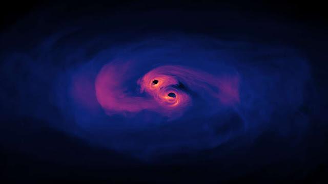 Quando galáxias colidem e seus buracos negros supermassivos não fundem eles podem ficar vagando pela galáxia