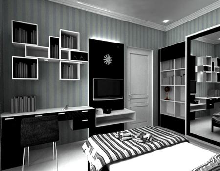 desain kamar tidur bernuansa hitam putih - desain rumah
