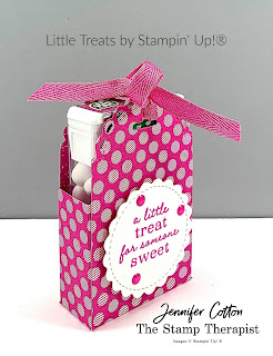 This cute Tic Tac treat box uses Stampin' Up!®'s Little Treats Bundle.  We also used the 2020-20 In Color Desgner Paper, Magenta Madness In Color Ribbon and Magenta Madness ink pad.  Check out the blog for a video & supply list.  #StampTherapist #StampinUp