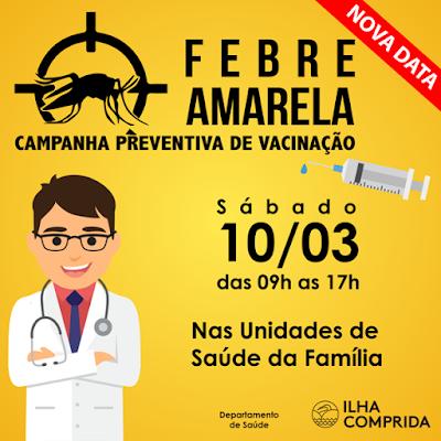 Sábado 10/03 será o dia D de vacinação contra Febre Amarela em Ilha Comprida