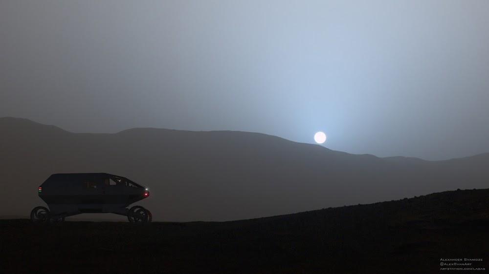 SpaceX Mars exploration rover by Alexander Svanidze - sunset