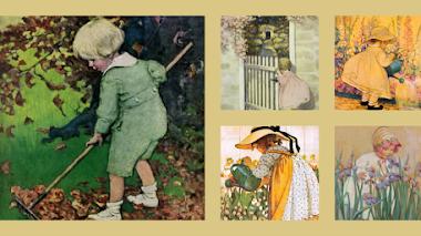 Ilustraciones de Jessie Willcox Smith. Los niños al jardín
