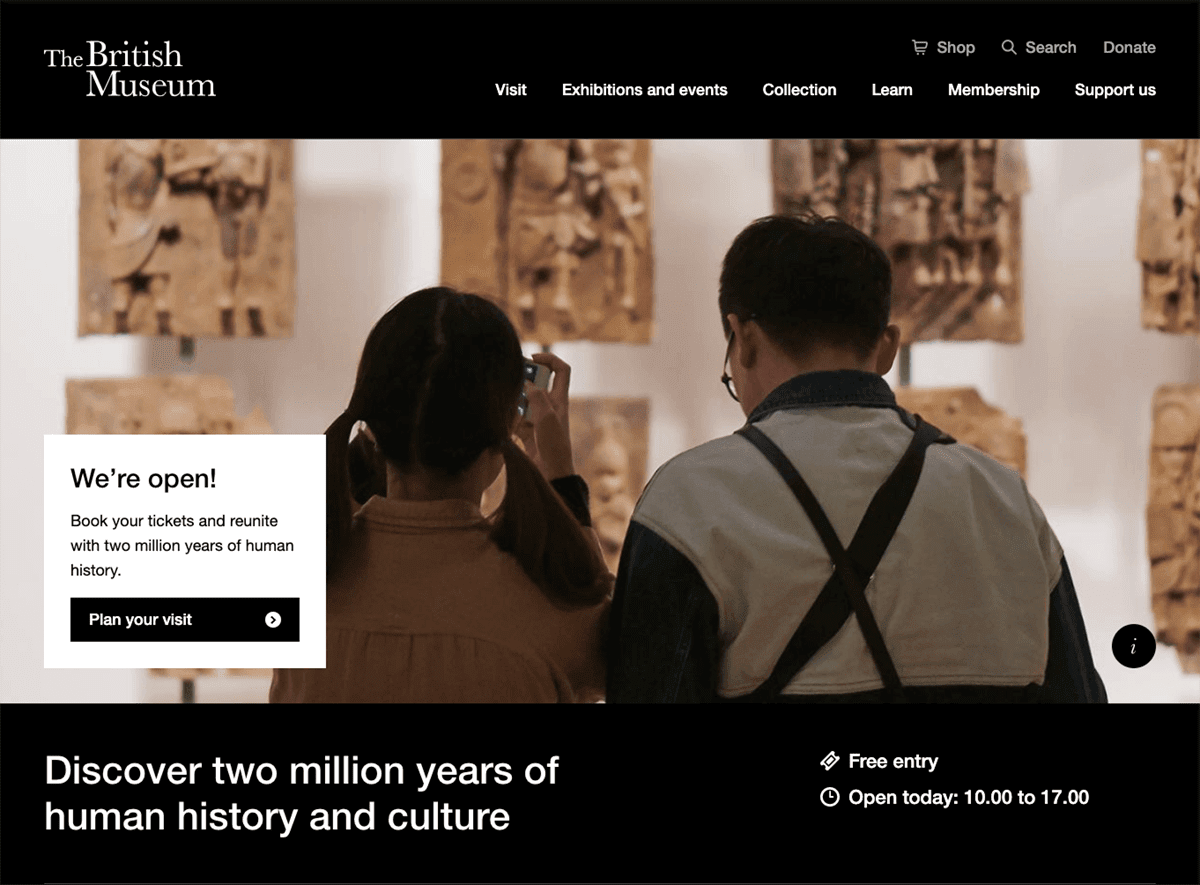 Screengrab of the British Museum's dark mode homepage