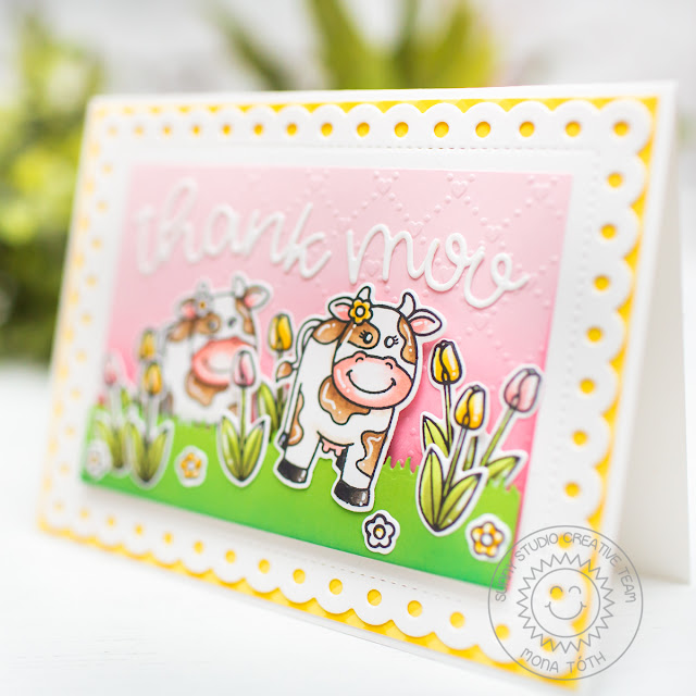 Sunny Studio Stamps: Miss Moo Frilly Frames Loopy Letters Thank You Card by Mona Toth