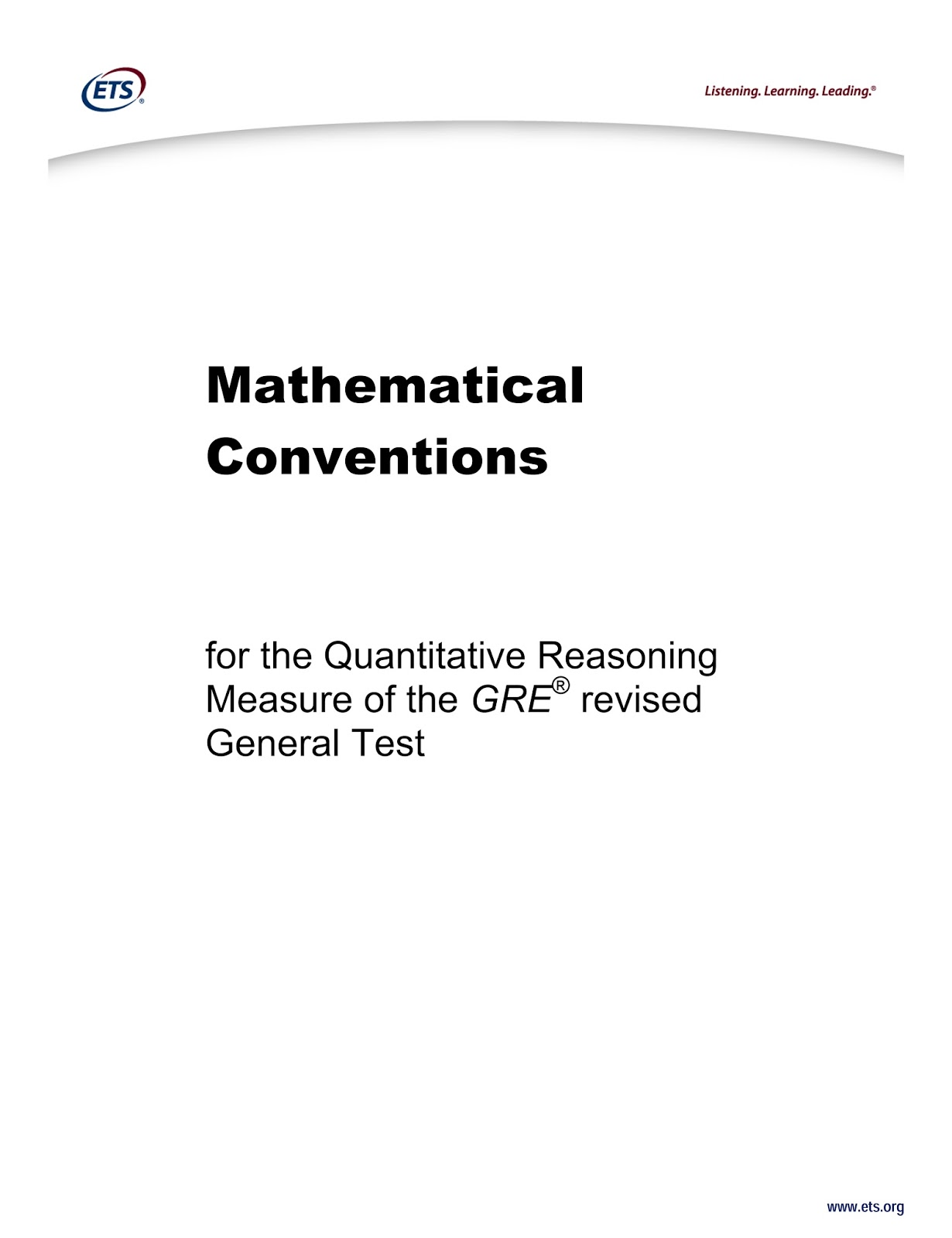 Gre Math Conventions By Educational Testing Service Ets Gre Preparation Forum