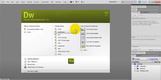 Buka Adobe Dreamweaver
