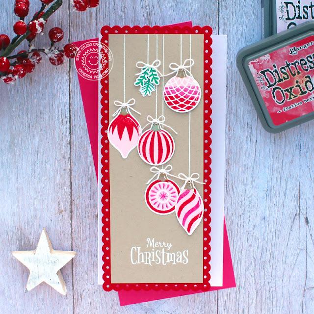 Sunny Studio Stamps: Retro Ornaments Slimline Dies Season's Greetings Holiday Cards by Vanessa Menhorn
