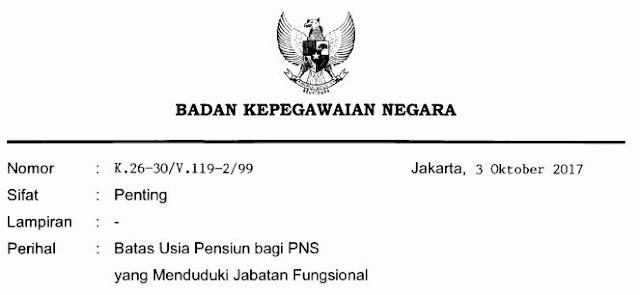 SK BKN No K.26-30/V.105-2/99 Tentang Batas Usia Pensiun PNS 2019 Bisa Mencapai 65 Tahun kalau Menduduki Jabatan Ahli Fungsional Utama